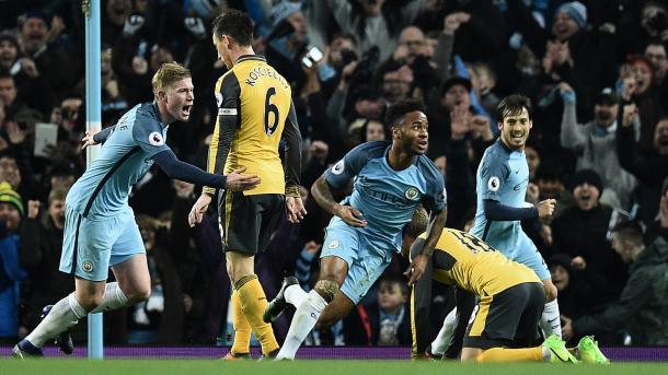Sterling esulta dopo un gol all'Arsenal. Fonte: http://www.skysports.com