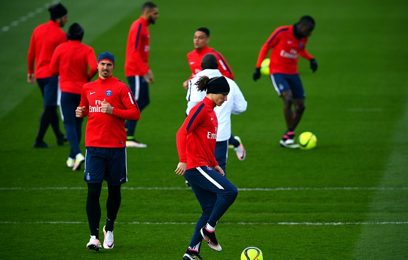 PSG first-team players in training on Friday afternoon | Photo: Getty