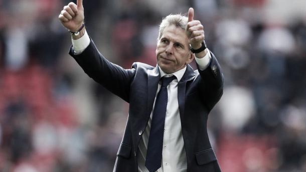 Claude Puel entrenador del Leicester. Foto: Premier League.