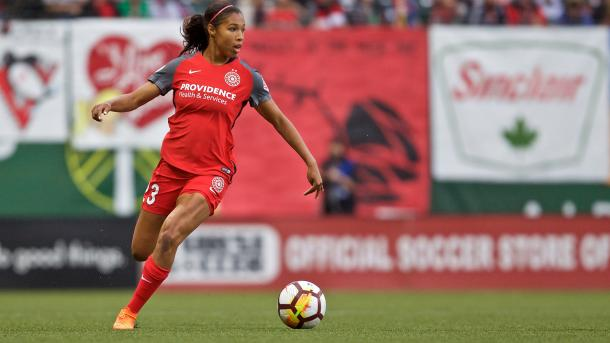 Purce in action for the Portland Thorns | Source: nwslsoccer.com