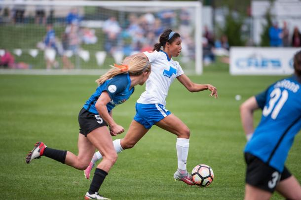 Margaret Purce came inches away from doubling Boston's lead. Source: Boston Breakers