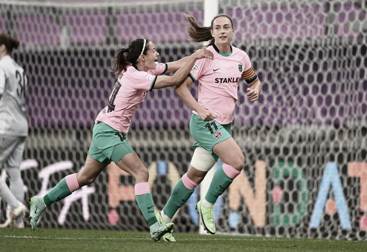 Alexia Putellas comemora o gol marcado. Crédito: UEFA Champions League Feminina