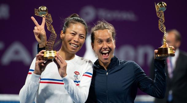 Hsieh (l.) and Strycova (r.) became the first doubles team in eight years to sweep the Dubai and Doha titles/Photo: Daniel Korpatsch