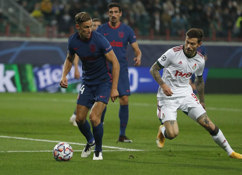 Imagen del partido entre el Lokomotiv de Moscú y el Atlético de Madrid