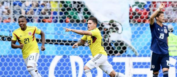 Quintero celebra su gol a Japón. | Getty Images.
