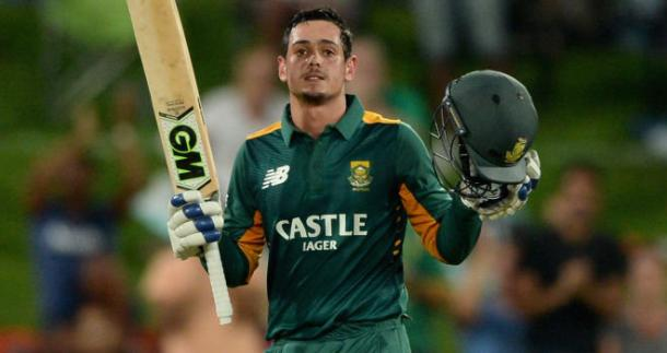 De Kock raising his bat after scoring a fantastic hundred in the 3rd ODI at Centurion | Photo: Getty images
