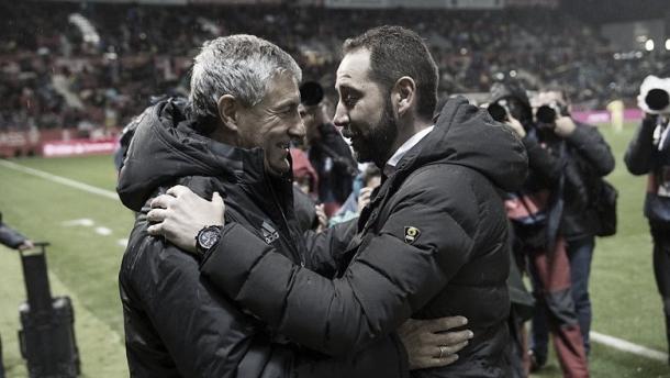 Setién y Machín en un Girona-Betis. | Fuente: elcornerdelsur.com
