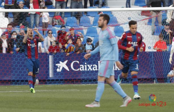 Gol de Roger en el descuento frente al Mirandés que acercaba el ascenso / Fuente:LaLiga.es