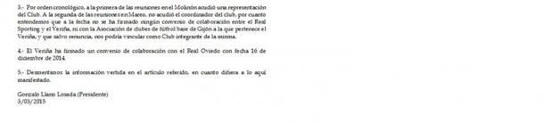Segunda parte del comunicado   Foto: Veriña CF