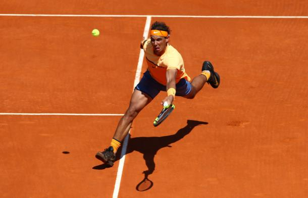 Rafael Nadal in action in Monte Carlo today. Photo Courtesy: Reuters.