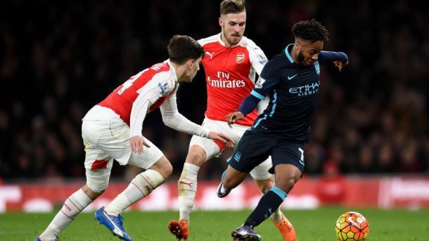Sterling in un match contro l'Arsenal. Fonte: http://www.skysports.com