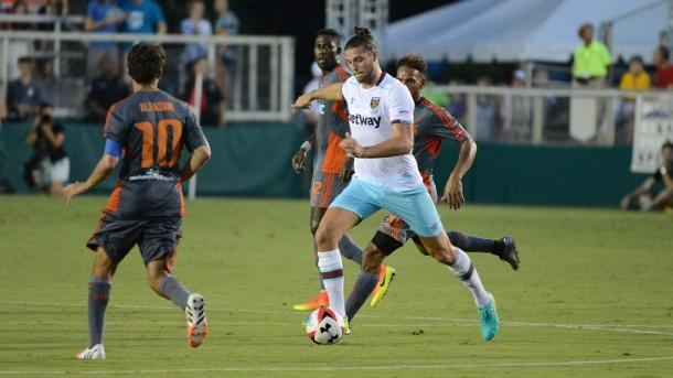 Above: Andy Carroll in action for West Ham in their 2-2 draw with the Carolina RailHawks | Photo: whufc.com