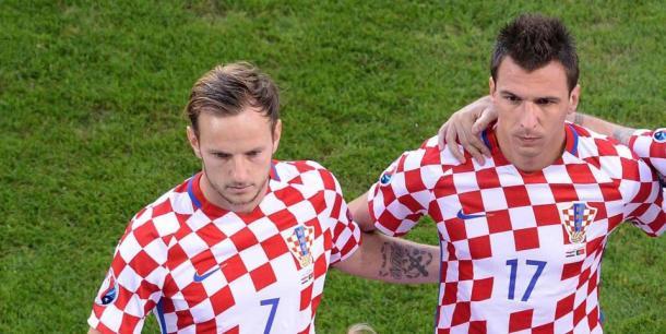 Rakitic e Mandzukic con la maglia della Nazionale croata, www.sun.co.uk