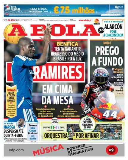 Capa do Abola trouxe em primeira mão as negociações do Benfica para o retorno do volante brasileiro