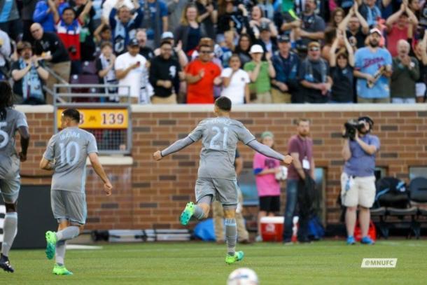 Christian Ramirez celebrates against Orlando City on May 27. (MNUFC Media Relations)