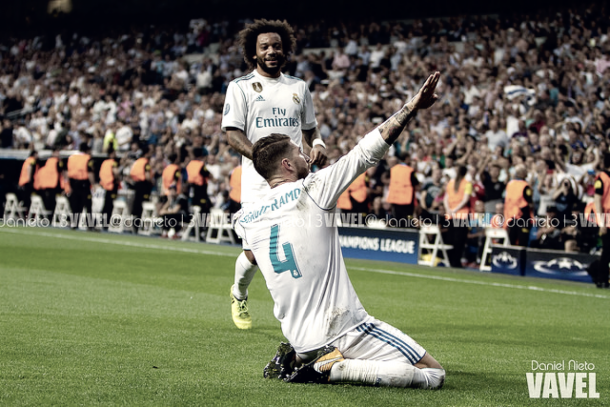 Ramos y Marcelo celebran un gol. Foto: Daniel Nieto (VAVEL)