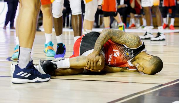 Jerome Randle en el momento de su lesión de rodilla   Foto: ACB