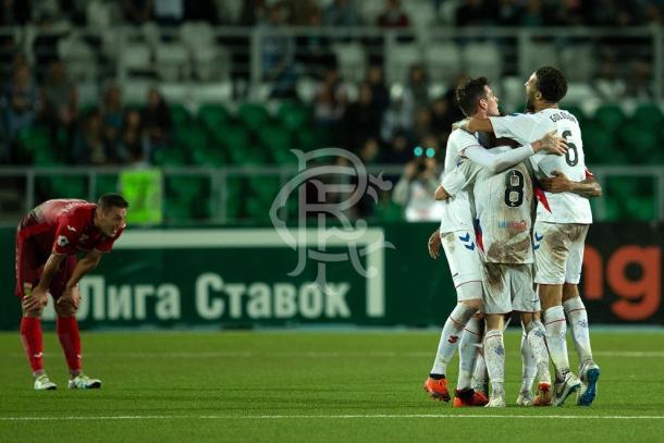 Los Gers celebran la clasificación para Europa League   FOTO: Rangers