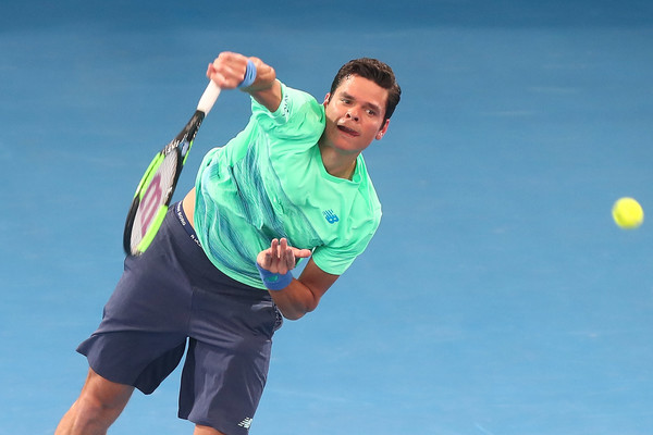 Raonic serving in his second round match in Brisbane (Photo by Chris Hyde / Getty Images)