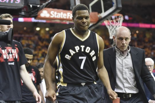 Toronto Raptors guard Kyle Lowry (7) heads to the locker room after injuring his left ankle. Photo by:David Richard-USA TODAY Sports