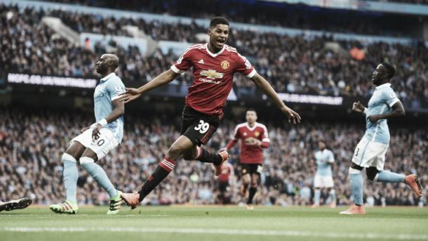 Rashford scores in the derby from last season. Photo:Sky Sports