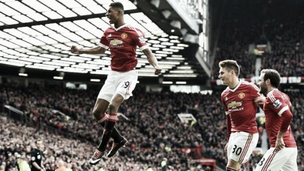Rashford enjoys his first of two goals against Arsenal | Photo: Foxsports