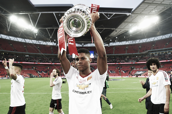 Rashford lifted the FA Cup with United in May | Photo: Michael Regan - The FA/ The FA Collection