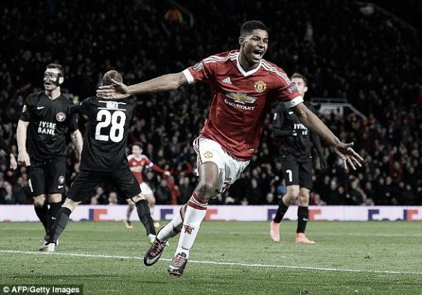 Rashford scored twice against FC Midtjylland on his debut (photo source: getty)