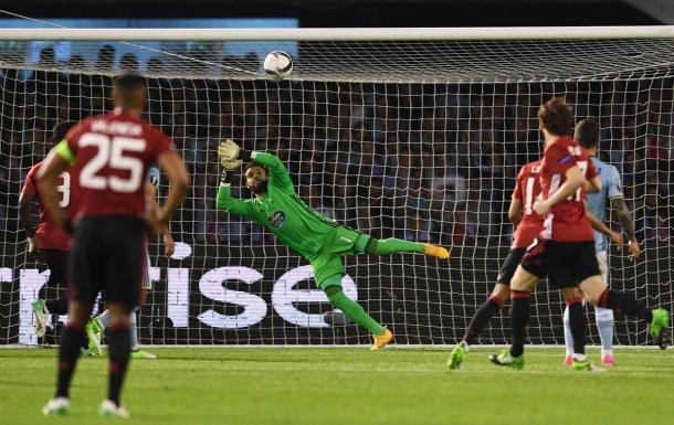 Il gol di Marcus Rashford, che ha deciso la sfida del Balaidos - Foto Europa League Twitter