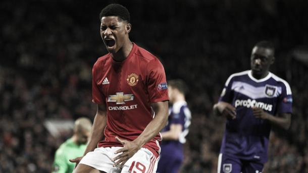 Rashford comemora o gol que deu a classificação aos Reds (Foto: Laurence Griffiths/Getty Images)