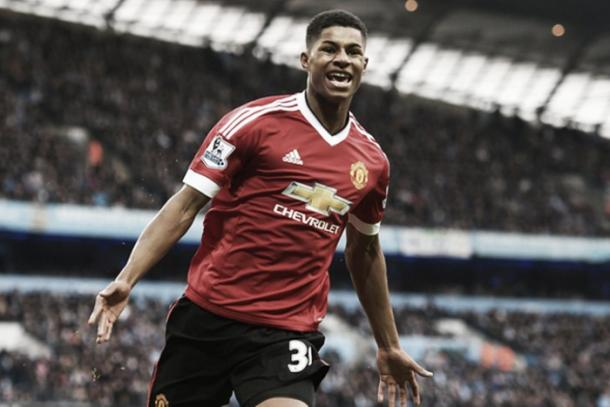 Rashford celebrates his winner in the Manchester Derby | Photo via Getty Images