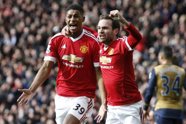 Rashford celebrating hist first of two goals against Arsenal | Photo: Getty Images