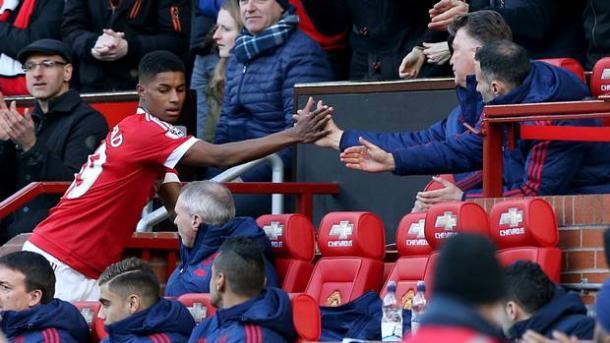 Marcus Rashford is congratulated by Louis Van Gaal. | Source: Belfast Telegraph
