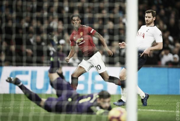 No fim do 1º tempo, Rashford abriu o placar para o United (Reprodução / MUFC)