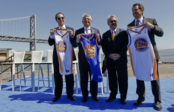 Joe Lacob, Peter Guber, David Stern y el alcalde de San Francisco en la presentación del proyecto. Foto: SFGate.com