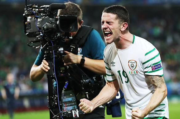 Republic of Ireland goalscorer Robbie Brady, whose last-gasp header sealed Italy's fate. | Photo: Getty