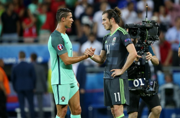 Ronaldo (left) and Bale (right) shake hands at the full-time whistle, as Wales were knocked out by the eventual winners. | Photo: Getty