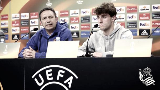 Eusebio y Odriozola en rueda de prensa. Foto: Real Sociedad