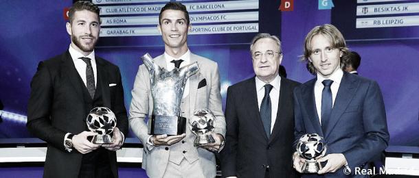 Ramos, Cristiano y Modric, junto al presidente Florentino Pérez | Foto: Real Madrid C.F.