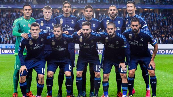 Real Madrid lineup vs. Malmo. Photo: Getty