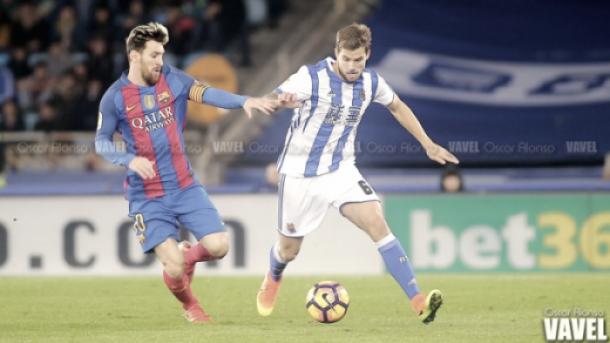 Messi, disputando un encuentro en Anoeta | Oscar Alonso - VAVEL