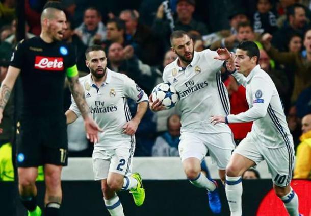 L'esultanza di Karim Benzema dopo l'1-1 | Getty Images