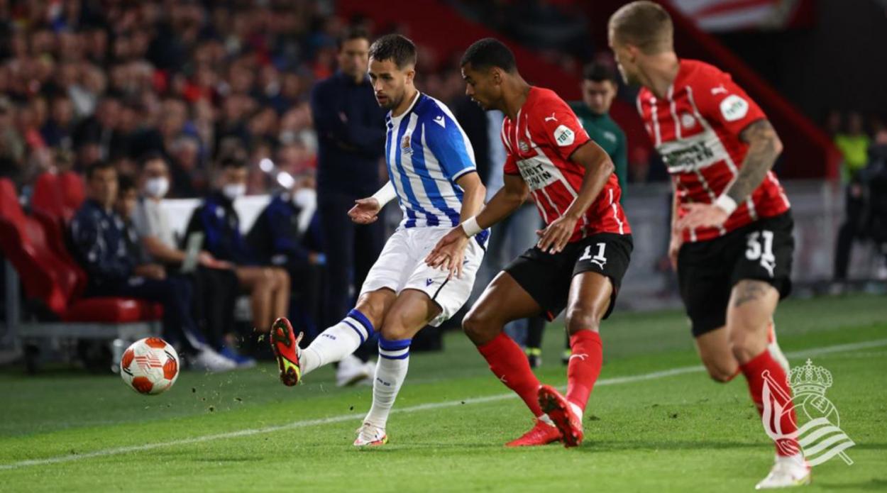 Januzaj en el partido frente al PSV. // Foto: Real Sociedad