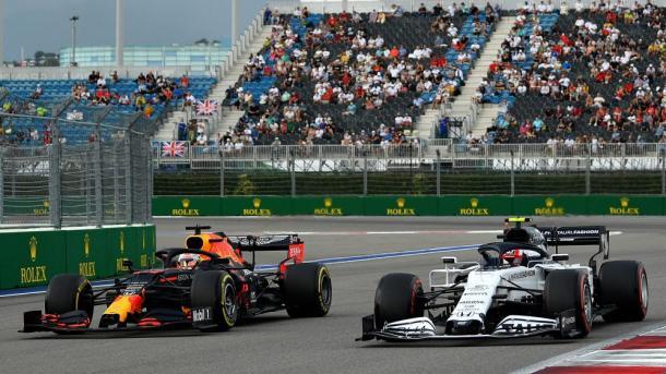 Alpha Tauri y Red Bull en Rusia 2020. Foto: F1
