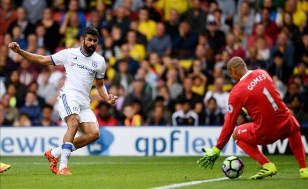 Costa gives Chelsea a late win at Vicarage Road. | Image source: Premier League.
