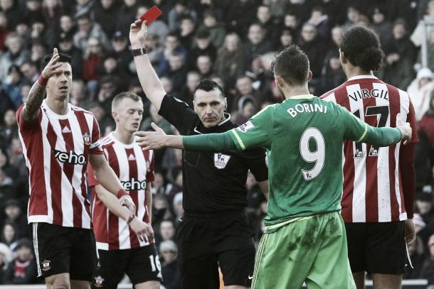 Fonte was sent off to become Saints fifth player to be sent off this season (photo source: getty)