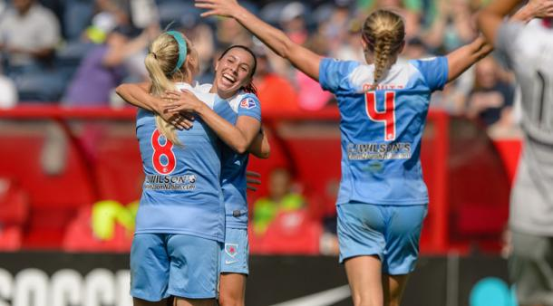 The Red Stars celebrate during a victory over the Courage earlier this year | Source: Goal Nation