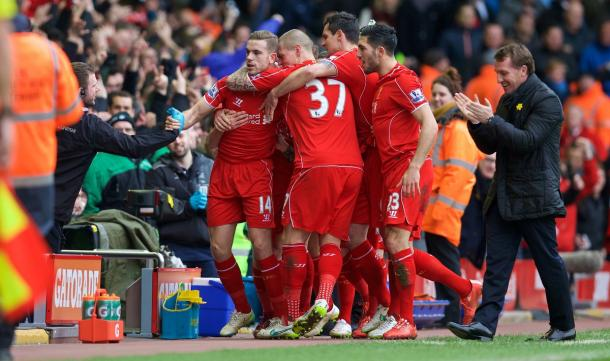 Liverpool celebrate Henderson's opener in a 2-1 win over Man City. (Picture: Getty Images)