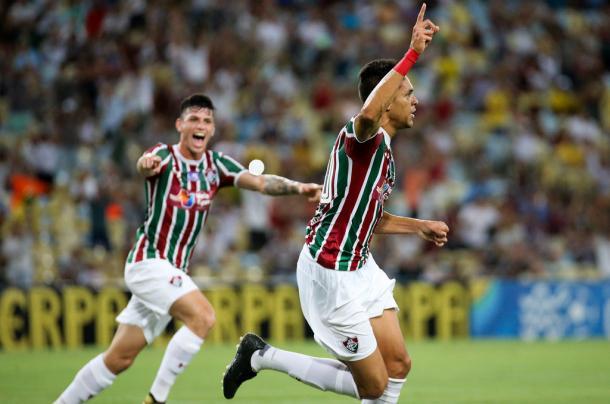 Reginaldo herdou vaga de Renato Chaves e marcou o segundo gol do Flu (Foto: Lucas Merçon)