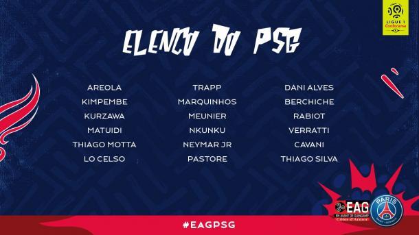 Jogadores relacionados para a partida deste domingo. (Foto: Divulgação / PSG)